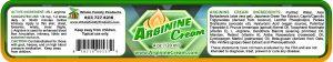 Arginine Cream 2% L Arginine 4oz Jar Product Label